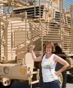 Sandy Norris Dean:  I built these huge beasts – the Buffalo Mine-Resistant Ambush Protected aka MRAP